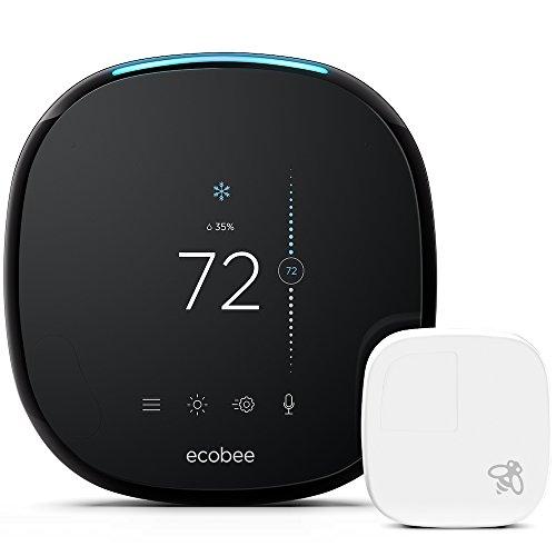 Ecobee ecobee4- Pack termostato inteligente + sensor de ambiente, con pantalla táctil LCD a color de 3.5 ', 320x480 píxeles, 10,2 x 2,5 x 10,2 cm, color negro y blanco